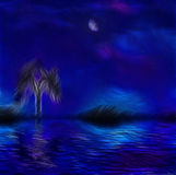 Paintertly nightscape stock illustration