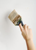 Painting. Hand painting with brush on white wall Stock Photography