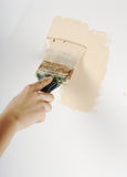 Painting. Hand painting with paint-brush on white wall Royalty Free Stock Photography