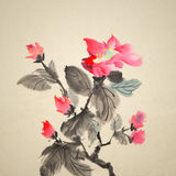 Painting. Chinese traditional ink painting of red flowers on art paper Royalty Free Illustration