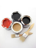 Painting. Paintbuckets and brushes isolated over white background, painting equipment stock photography