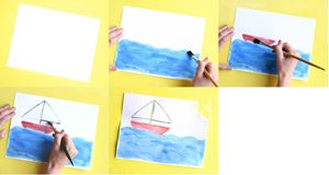 Painting. Time lapse sequence of painting a picture of a sail boat Royalty Free Stock Photo