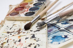 Painting. Tools colour palette and brushes Stock Images