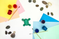Free Painting A Rock Green Turtle On A Stone Step By Step. Children Art Project. DIY Concept. Step By Step Photo Instruction. Step 4 Stock Photo - 183233210