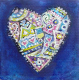 Painting abstract color ethnic pattern heart. Painting abstract color heart on blue background. Valentines card with ethnic pattern heart. Love art Stock Photography