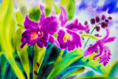 Painting abstract watercolor purple,pink color of orchid flowers Royalty Free Stock Images