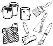 Painting accessories hand-drawn illustration Stock Image