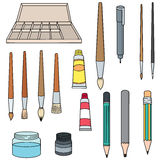 Painting accessories. Vector set of painting accessories royalty free illustration