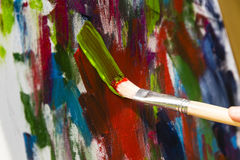 Painting with acrylic colors Royalty Free Stock Photo