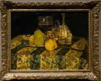 A painting by Adolphe Monticelli in the National Gallery in London. A painting by Adolphe Monticelli - Still Life: Fruit. Beautiful framed painting in The Royalty Free Stock Image