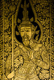 Painting Ancient art thai style. Gold area coated with real gold foil, Generality in Thailand, any kind of art decorated in Buddhist church, temple pavilion vector illustration