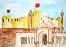 Painting of ancient monuments of Bahrain Stock Images
