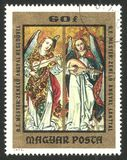 Painting Angels playing violin and lute. Hungary - stamp 1973: Color edition on Art, shows Painting Angels playing violin and lute Vector Illustration