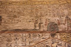 Painting with Apophis and Anubis. Near Luxor royalty free stock image