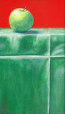A painting of an apple. Using green and red colour Stock Photos
