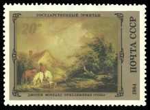 Painting Approaching Storm. USSR - stamp 1984: Color edition on English Art in Hermitage Museum, Shows Painting Approaching Storm by George Morland Royalty Free Stock Photo