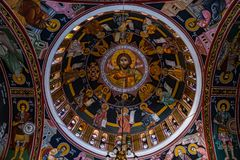 The painting of the arch of the Orthodox Church in Greece royalty free stock images
