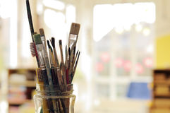 Painting Art Brushes in the Jar Stock Image