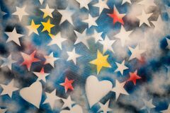 Painting Art on Canvas: White Stars and Hearts on Blue Background