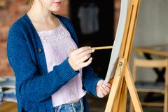 Paint art class dilute watercolor teacher student. Painting art classes. drawing courses. skills imagination and inspiration. student girl creating picture on stock photos
