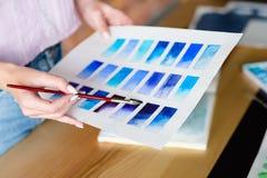 Paint art class watercolor technique color swatch stock photos