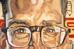 Painting Art: Close-up of Man s Face, Portrait with Glasses.  Stock Photography