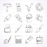 Painting and art object icons. Vector icon set Royalty Free Stock Photo
