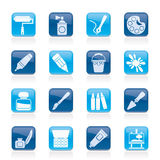 Painting and art object icons. Vector icon set Royalty Free Stock Photography