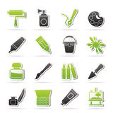 Painting and art object icons. Vector icon set Stock Photography