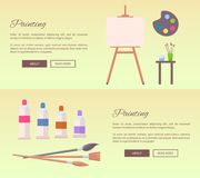 Painting Art Supplies Web Banners Vector Icons. Painting art supplies web banners vector illustrations. Cartoon style easel, watercolor paints, different brushes Stock Photography