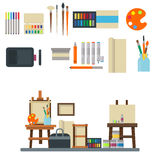 Painting art tools palette icon set flat vector illustration details stationery creative paint equipment. Stock Photo