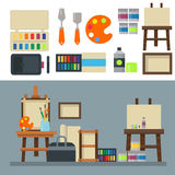 Painting art tools palette icon set flat vector illustration details stationery creative paint equipment. Royalty Free Stock Photo