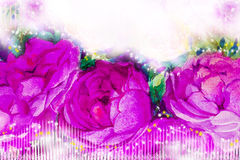 Painting art watercolor illustration  pink,violet color of the roses. Royalty Free Stock Photography