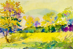Painting art watercolor landscape original  colorful of garden Royalty Free Stock Photography