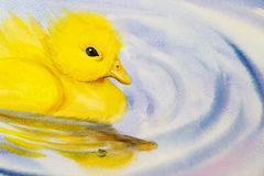 Painting art watercolor landscape original colorful of little yellow duck. And emotion on water background stock illustration