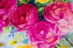 Painting art watercolor landscape original colorful of the roses. Painting art watercolor landscape original  pink,yellow color of the roses and emotion  beauty Stock Photography