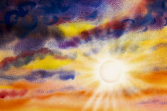 Painting art watercolor landscape of sun beauty in nature. Stock Images