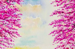 Painting art watercolor pattern  colorful of Wild himalayan cherry flowers Stock Photo