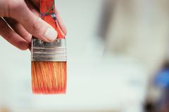 Painting artwork: paint brushes on painting background. Artist paint brush on painting background. Painting therapy drawing creative inspiration motivation stock images