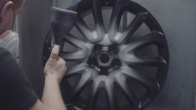 Painting of automobile wheels