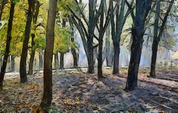 Painting of autumn forest Stock Images