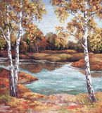 Painting Autumn Landscape, Trees Royalty Free Stock Image