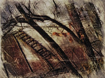 Painting autumn with stairs Royalty Free Stock Photography
