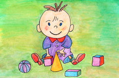 Painting of baby boy playing with toys. Baby playing with toys. Kids art. Original hand drawing. Watercolor Stock Image