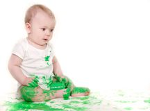 Painting baby over white Royalty Free Stock Photography