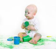 Painting baby over white Stock Photos
