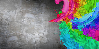 Painting background. Cement wall painted with colorful splashes. Renovation concept Royalty Free Stock Photography