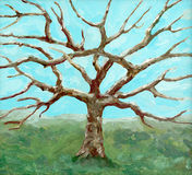 Painting of a bare-leafed tree Stock Image