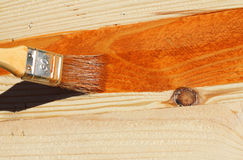 Painting bare wood Stock Images