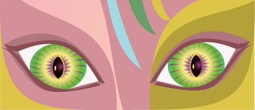 Painting of beautiful eye. vector  Royalty Free Stock Photo